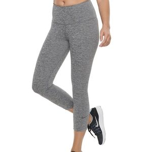 Nike dri-fit sculpt victory tight fit leggings gray high rise cropped running
